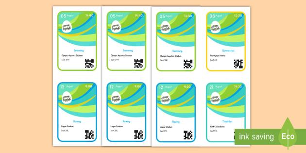 Rio 2016 Editable Event Ticket Templates - rio 2016 olympics