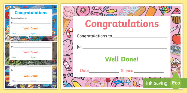 Well Done Congratulations Certificates - well done - congratulations certificate