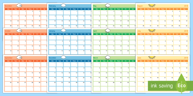 Academic Year Monthly Calendar Planning Template 2017-2018 - sample power point calendar