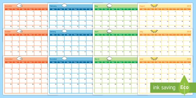 2018 Monthly Calendar Planning Template - Monthly Calendar