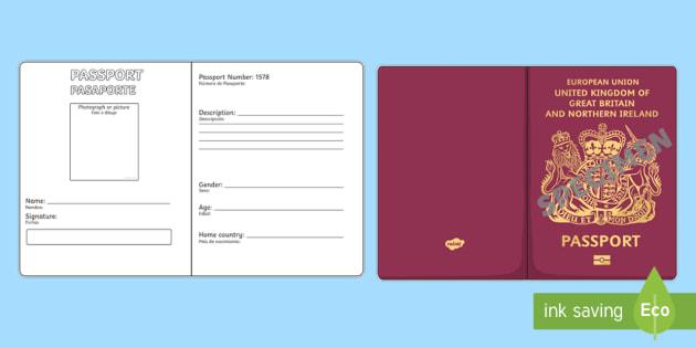 NEW * British Passport Writing Template - English / Spanish - passport template