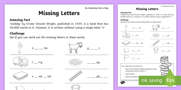 Missing Letters Worksheet / Activity Sheet - july amazing fact