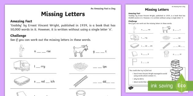 Missing Letters Worksheet / Worksheet - july amazing fact, KS1