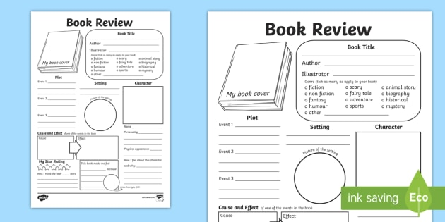 In Depth Book Review Writing Template - reading, book review - book review template