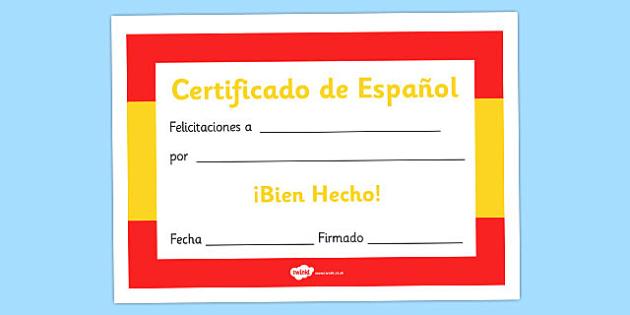 Spanish Award Certificate - Spanish Award Certificate, Spanish