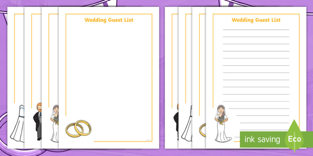 NEW * Wedding Guest List Worksheet - EYFS Royal Wedding (19th May 2018)