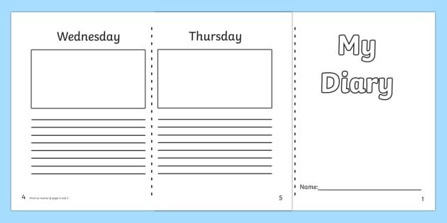 Diary Template KS1 - 7 day diary, writing frame, diary, journal, week