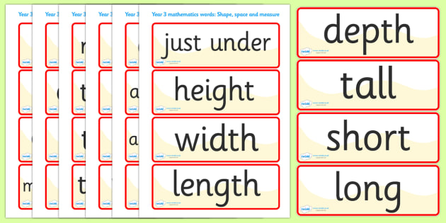 Shape Space Measure Vocabulary Cards (Year 3) - shape, space - vocab cards