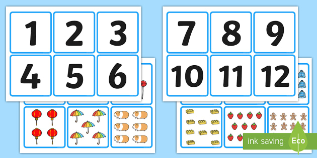 1-20 Number and Quantity Matching Cards - numeracy, numbers, subitising
