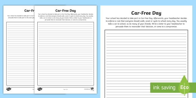 Car-Free Day Persuasive Writing Template - literacy, letter