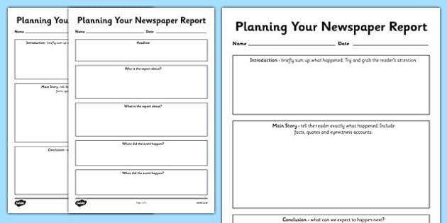 Newspaper Report Planning Templates - newspaper report, writing - resource plan template