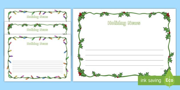 Holiday News Page Border Pack - Christmas Page Borders - Christmas, xmas