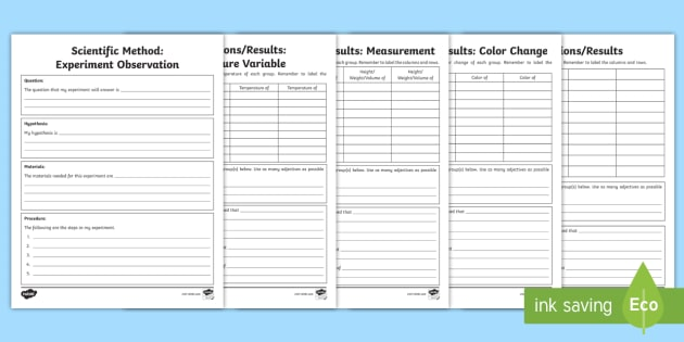 NEW * Scientific Method Experiment Observation Writing Template
