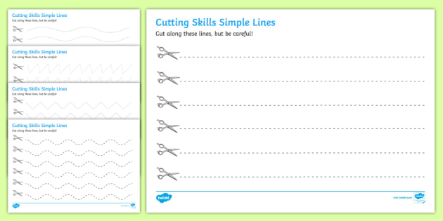 Cutting Skills Worksheets (Lines) - Scissor skills, cutting, cutting