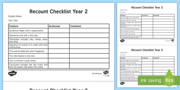 Year Recount Checklist English Curriculum Writing Creating Creating