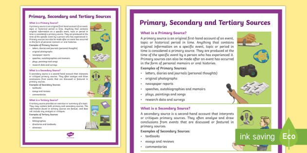 Primary, Secondary and Tertiary Sources A4 Display Poster - Australian