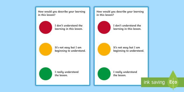 NEW * Self-Assessment Traffic Light Cards - self evaluation, marking