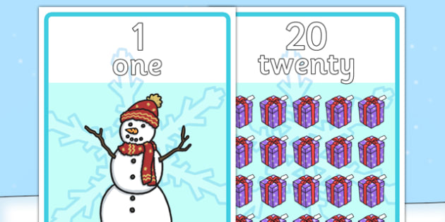 Winter Themed Number Posters with Words  Numbers (1-20)