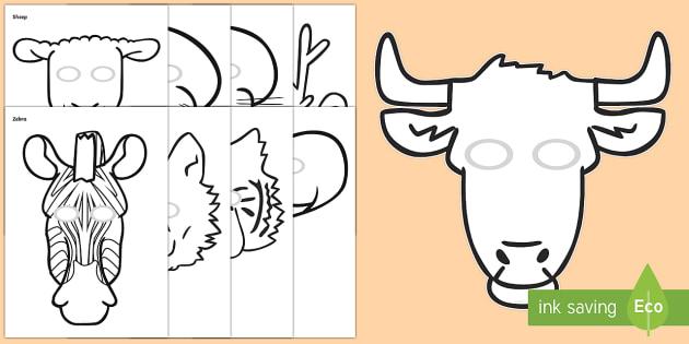 animal masks to colour - - animal masks, role play