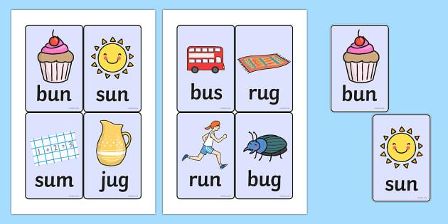 CVC Word Cards (u) - CVC, CVC word, three phoneme words, three - word with the letters