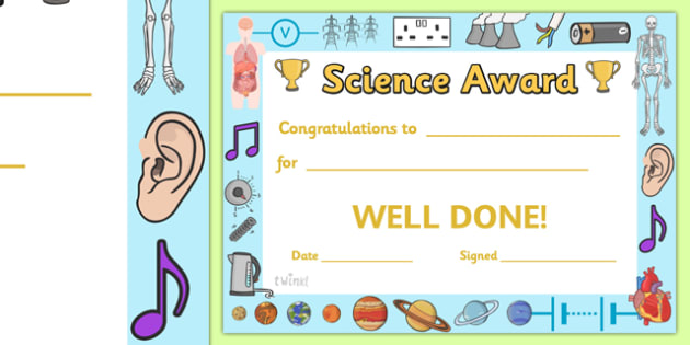 Science Award Certificate - science award certificate, science
