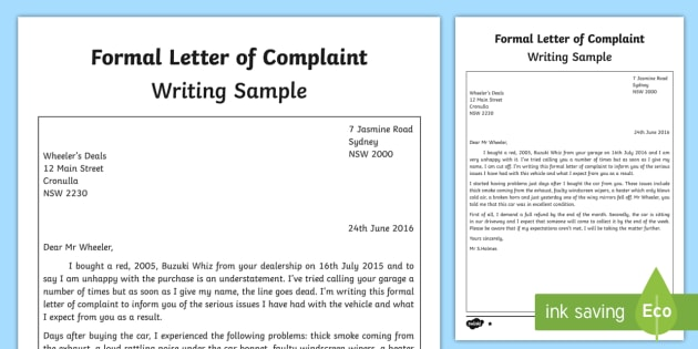 Formal Letter of Complaint Writing Sample - English, writing - complaint letter sample