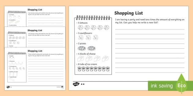 Shopping List Worksheet / Activity Sheets - Year 1, Maths
