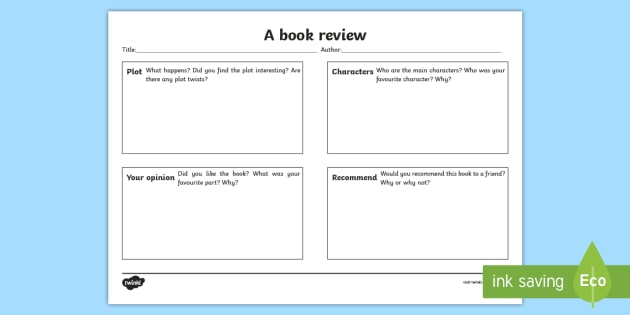 Book Review Writing Template - book review writing template - book review template