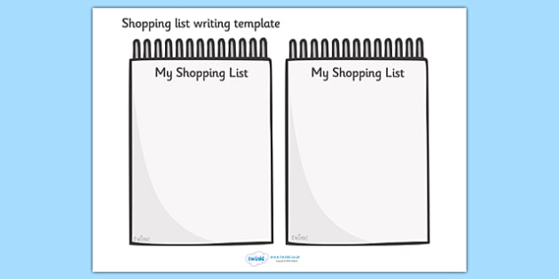 Shopping List Writing Template - Blank shopping list templates - blank grocery list templates