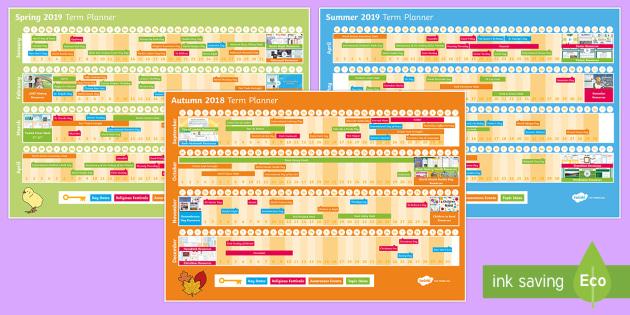 NEW * EYFS /KS1 2018 - 2019 Assemblies Planner Display Calendar