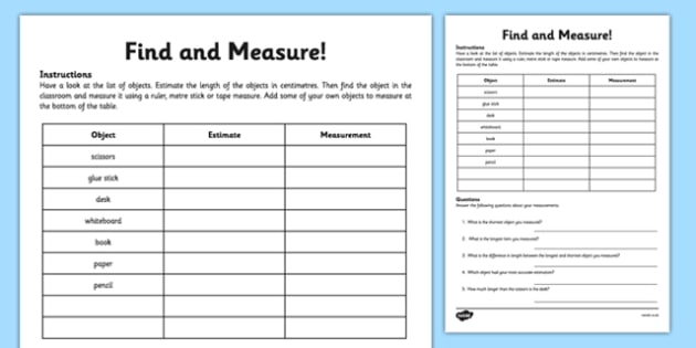 Find And Measure Classroom Objects Worksheet Activity Sheet