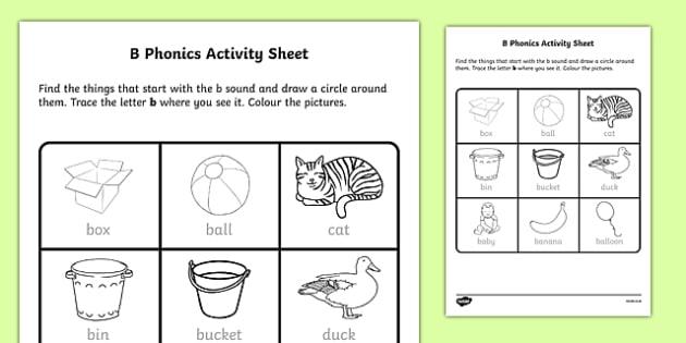 b Phonics Worksheet / Activity Sheet-Irish, worksheet - phonics worksheet