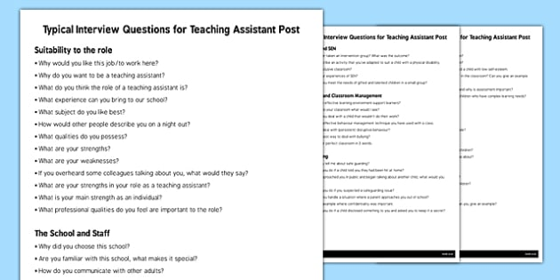 Teaching Assistant Interview Questions - interview, questions - interview questions for teachers