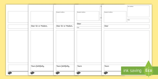 Formal Letter Writing Templates - writing a formal letter - letter writing template