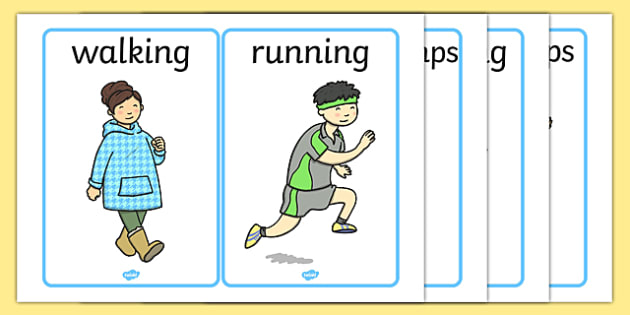 PE Physical Action Word and Picture Cards - PE, action