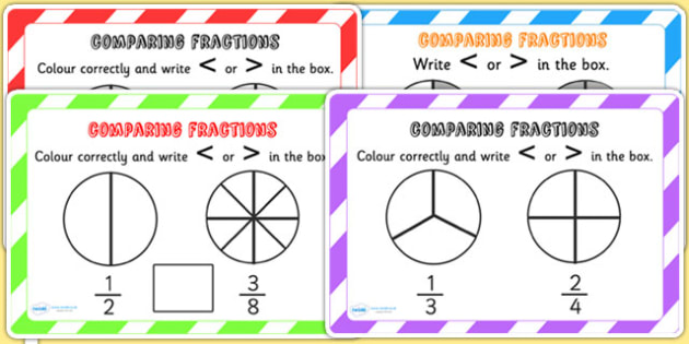 Comparing Fractions Challenge Cards Fraction Numeracy