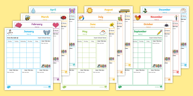 NEW * Editable Weekly Themed Classroom Newsletters - Class News, Weekly
