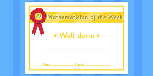 Mathematician of the Week Certificate - certificates, awards