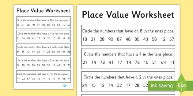 Place Value Worksheet / Activity Sheet 2 Digits - place value - place value worksheet