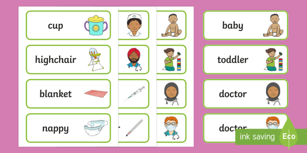 Baby Clinic Role Play Word Cards - Baby Clinic Role Play Pack, baby