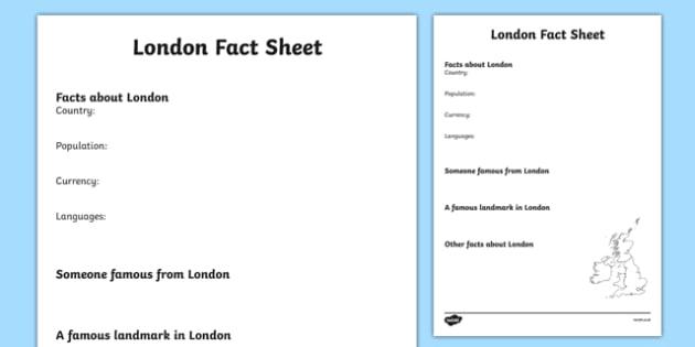London Factsheet Writing Template - london, london fact sheet