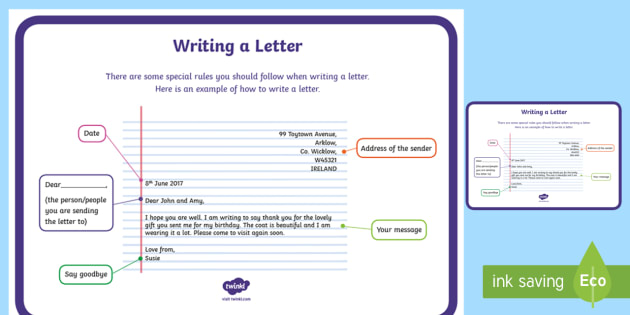 Writing a Letter Display Poster - letter, writing, display poster