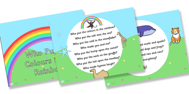 Who Put the Colours in the Rainbow Hymn Lyrics PowerPoint - who