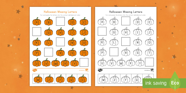 Halloween Missing Letters Worksheet / Activity Sheet - Alphabet