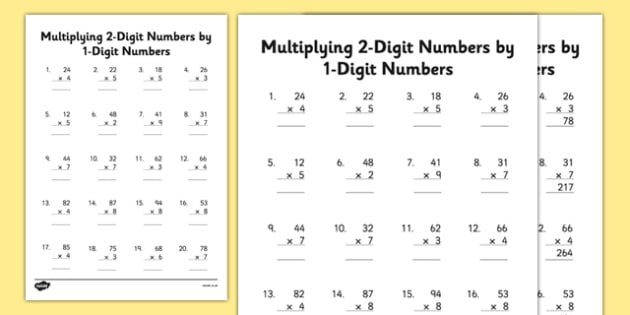 Multiplying 2-Digit Numbers by 1-Digit Numbers Worksheet /