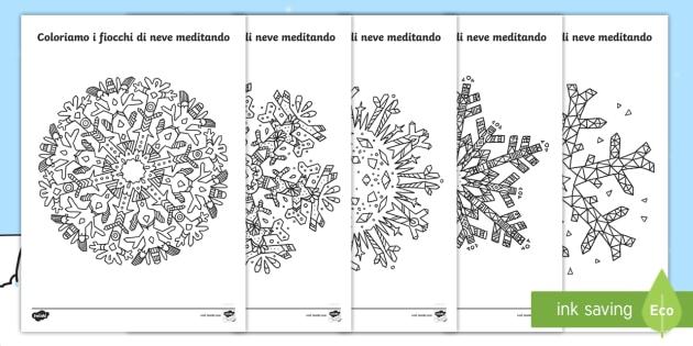Colora I Fiocchi Di Neve Meditando Fogli Da Colorare
