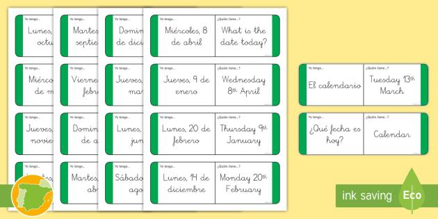 A1 Tarjetas de buscar y emparejar bilingües La fecha en inglés - date