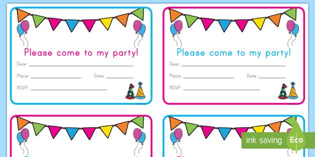 Birthday Party Invitation Cards - party, invitations, birthday