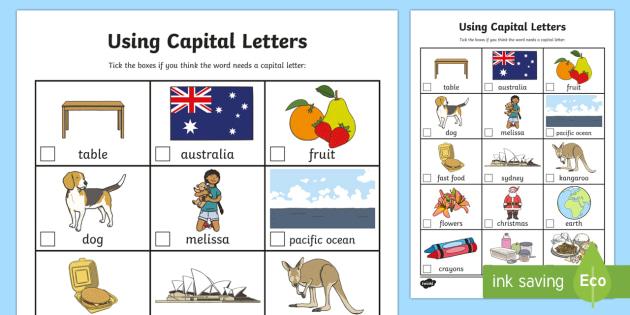 Using Capital Letters Worksheet / Activity Sheet - capital