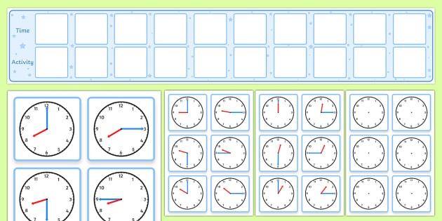 Daily Routine Display With Clocks - visual timetable display - daily timetable